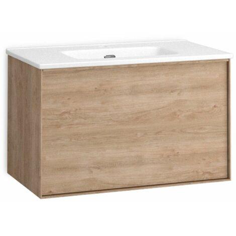 Mueble + lavabo Berlín Suspendido | Con Espejo Rain Led - No - 100 cm - Blanco Mate