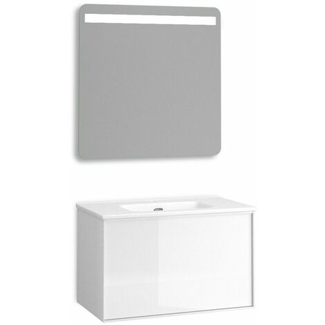 Mueble + lavabo Berlín Suspendido   Con Espejo Rain Led - No - 70 cm - Blanco Mate