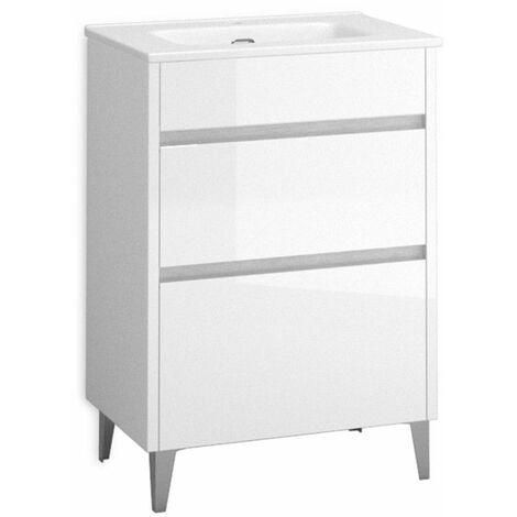 Mueble + lavabo Berna Al Suelo Fondo Reducido   Con Espejo Rain Led - 60 cm - Blanco Brillo