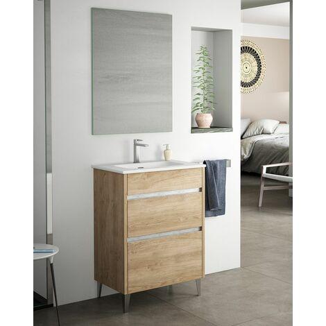 Mueble + lavabo Berna Al Suelo Fondo Reducido | Con Espejo Rain Led - 60 cm - Blanco Brillo