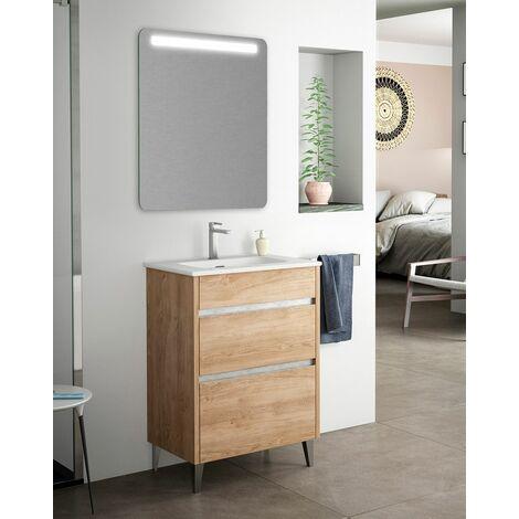 Mueble + lavabo Berna Al Suelo Fondo Reducido   Con Espejo Rain Led - 60 cm - Roble Natural