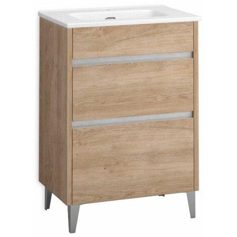 Mueble + lavabo Berna Al Suelo Fondo Reducido   Mueble + Lavabo - 60 cm - Roble Natural