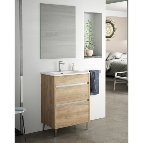 Mueble + lavabo Berna Al Suelo Fondo Reducido | Mueble + Lavabo - Roble Natural - 50 cm