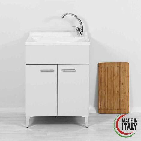 Mueble lavabo blanco con dos puertas 60 cm Feridras Stella 799040 | Blanco