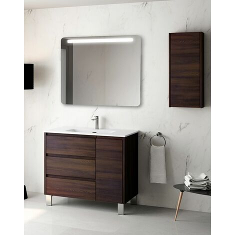 Mueble + lavabo Cervino Al Suelo | Con Espejo Sun - No - 100 cm - Wengué Nature