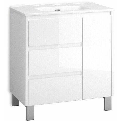 Mueble + lavabo Cervino Al Suelo   Mueble + Lavabo - No - 100 cm - Blanco Brillo