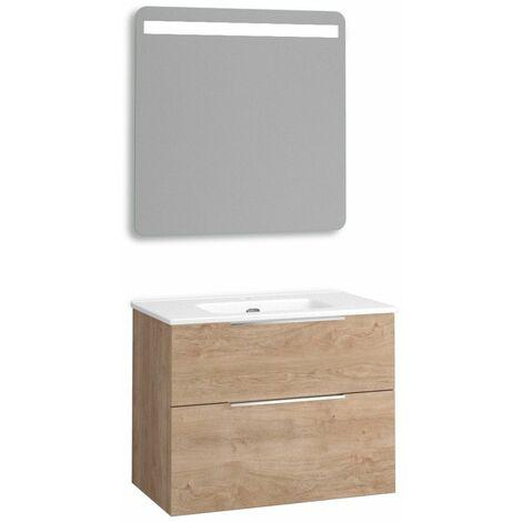 Mueble + lavabo Comet Fondo Reducido   Con Espejo Rain Led - No - 60 cm - Roble Natural