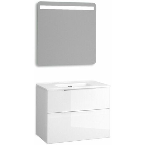 Mueble + lavabo Comet Fondo Reducido   Con Espejo Rain Led - No - 80 cm - Blanco Brillo