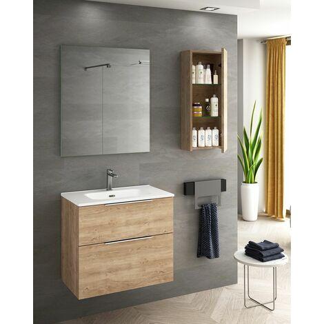 Mueble + lavabo Comet Fondo Reducido   Con Espejo Sun - No - 60 cm - Roble Natural