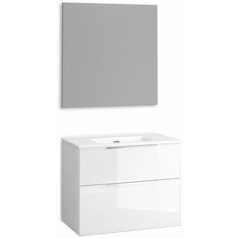 Mueble + lavabo Comet Fondo Reducido   Con Espejo Sun - No - 70 cm - Blanco Brillo