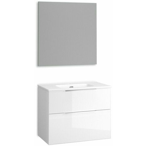 Mueble + lavabo Comet Fondo Reducido   Con Espejo Sun - No - 80 cm - Blanco Brillo