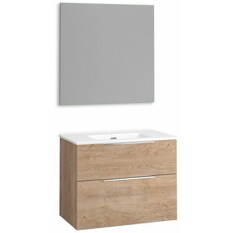 Mueble + lavabo Comet Fondo Reducido   Con Espejo Sun - No - 80 cm - Roble Natural