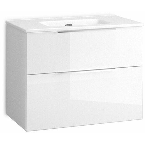 Mueble + lavabo Comet Fondo Reducido   Mueble + Lavabo - No - 80 cm - Blanco Brillo