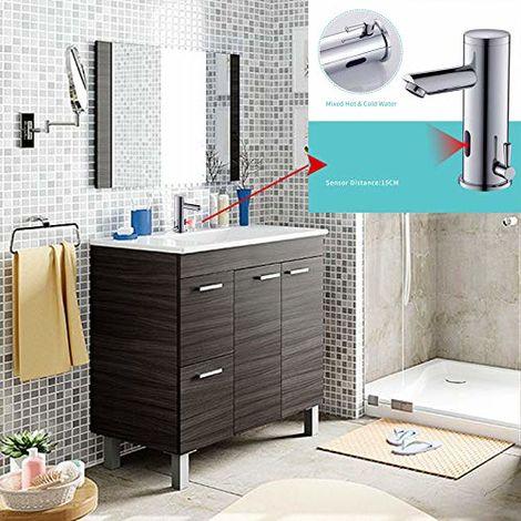 Mueble Lavabo con Espejo 2 Puertas + 2 CAJONES + Lavamanos (NO Clásica cerámica) Grifo SENSOR AUTOMATICO