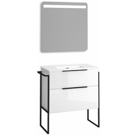 Mueble + lavabo Galsaky Industrial al Suelo   Con Espejo Rain Led - No - 70 cm - Blanco Brillo
