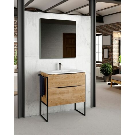 Mueble + lavabo Galsaky Industrial al Suelo | Con Espejo Sun - No - 100 cm - Blanco Brillo