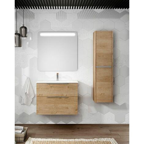 Mueble + lavabo Galsaky Suspendido | Con Espejo Sun - No - 80 cm - Roble Natural
