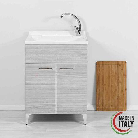 Mueble lavabo gris con dos puertas 60 cm Feridras Stella 799097 | Gris
