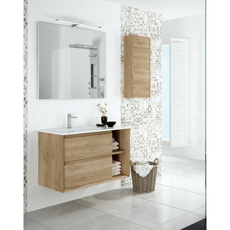 Mueble + lavabo Hole Suspendido | Con Espejo Rain Led - No - 100 cm - Roble Natural