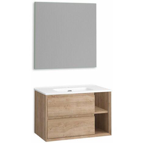Mueble + lavabo Hole Suspendido   Con Espejo Sun - No - Roble Natural - 90 cm