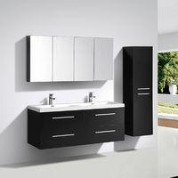 Mueble lavabo + lavabo 144cm MONTADO Lacado Negro SIENA