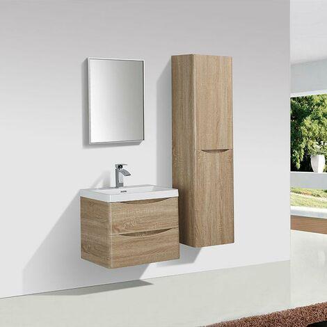 Mueble Lavabo + Lavabo 60 cm MONTADO - Roble Claro PIACENZA