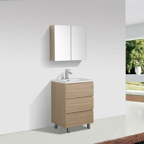 Mueble Lavabo + Lavabo 60 cm MONTADO - Roble Claro VERONA