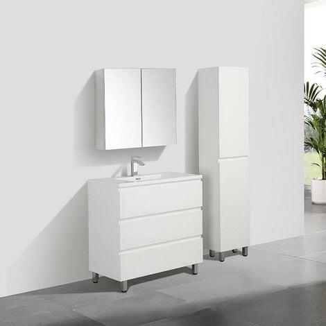Mueble Lavabo + Lavabo 90 cm MONTADO - Blanco VERONA