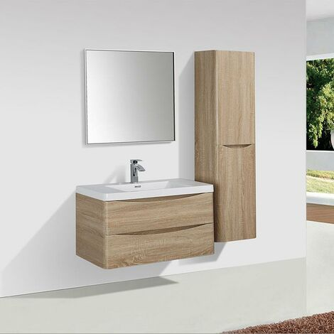 Mueble Lavabo + Lavabo 90 cm MONTADO - Roble Claro PIACENZA