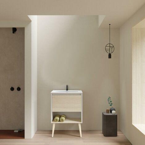 Mueble Lavabo + lavabo sobre encimera NARA. Blanco Mate-Roble.