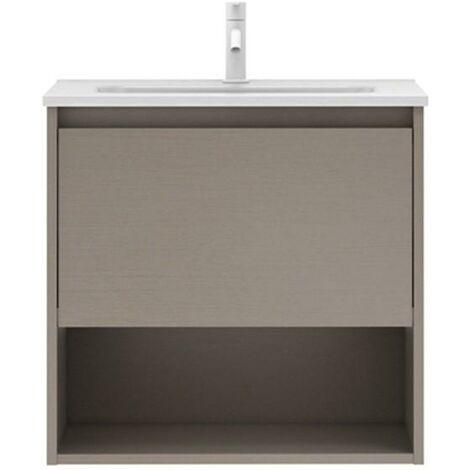 Mueble Lavabo + lavabo sobre encimera NIWA. Opción Blanco, Roble y Fumé.