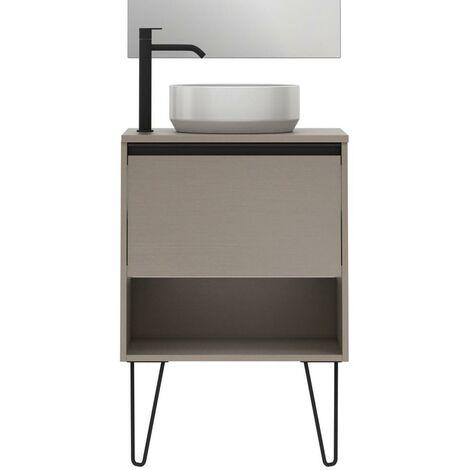 Mueble Lavabo + lavabo sobre encimera YOKO. Opción Blanco, Roble y Fumé.