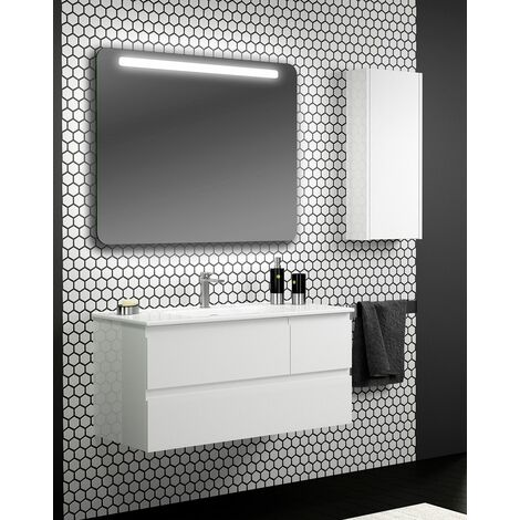 Mueble + lavabo Lúxor Suspendido | Con Espejo Rain Led - No - 100 cm - Nogal Oscuro