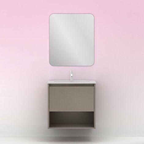 Mueble lavabo NIWA. Opción Blanco, Roble y Fumé.