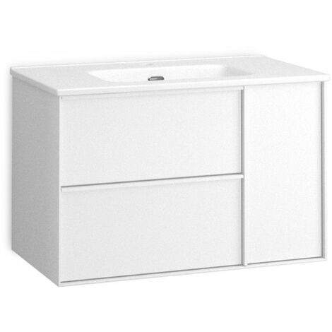 Mueble + lavabo Oslo Suspendido | Mueble + Lavabo - No - 70 cm - Blanco Brillo