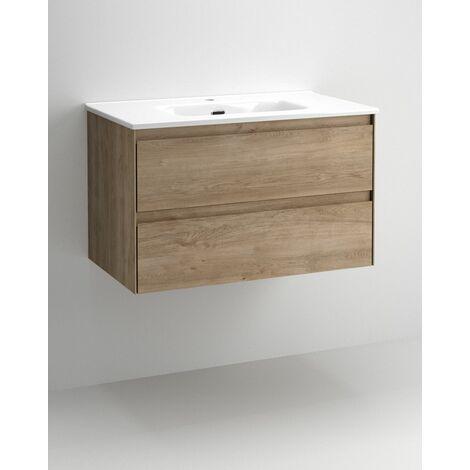 Mueble + lavabo Praga Suspendido | Con Espejo Rain Led - No - 100 cm - Wengué Nature