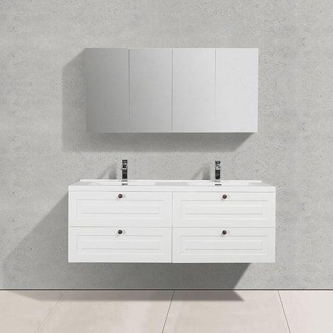 Mueble Lavabo Retro + Lavabo Doble 150 cm MONTADO - Lacado Blanco FIRENZE