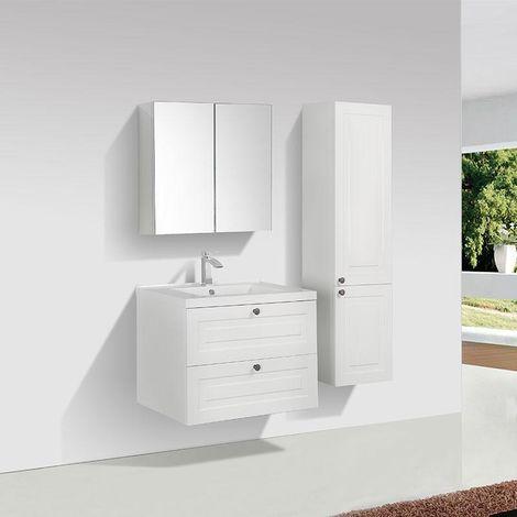 Mueble Lavabo Retro + Lavabo Simple 75 cm MONTADO - Lacado Blanco FIRENZE