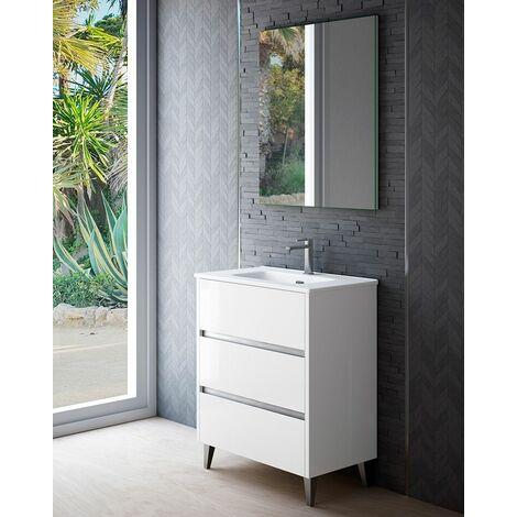 Mueble + lavabo Siena Al Suelo Fondo Reducido | Con Espejo Sun - 80 cm - Blanco Brillo