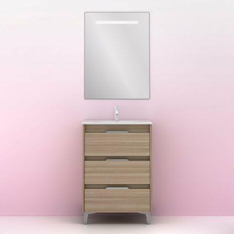 Mueble lavabo SUKI con patas. Opción Blanco, Gris, Antracita, Fumé, Nogal . 3 y 6 cajones. Lavabo simple y doble.