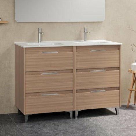 Mueble lavabo SUKI suspendido. Opción Blanco, Gris, Antracita, Fumé, Nogal. 2 y 4 cajones. Lavabo simple y doble.