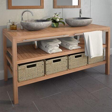 Mueble lavabo tocador madera teca maciza 4 cestas 132x45x75 cm - Marrón