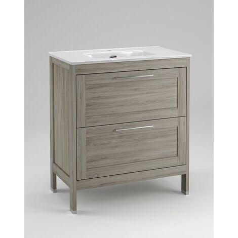 Mueble + lavabo Toscana Al Suelo | No - 60 cm - Roble Natural - Con Espejo Toscana