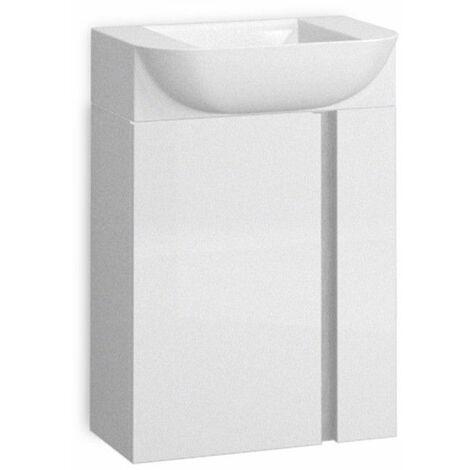 Mueble + lavabo Versa Suspendido Fondo Reducido | Roble Natural - 55 cm - Con Espejo Versa