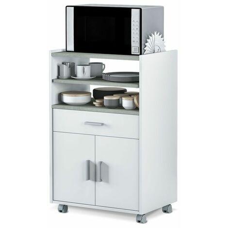 Mueble microondas Basic - Blanco Artik - Gris Cemento