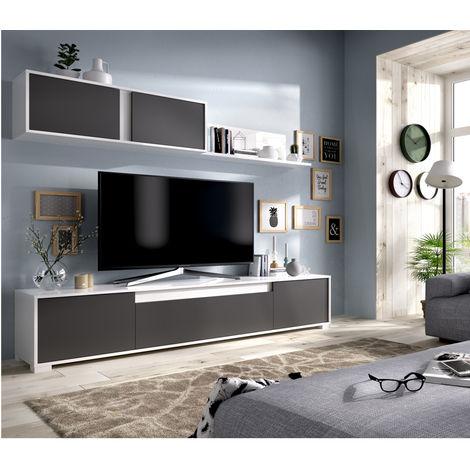 Mueble Milano Blanco Brillo y Grafito Medidas: 180 x 200 x 41 cm