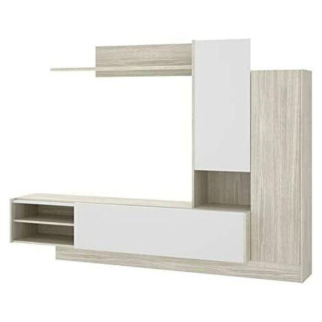 Mueble moderno, medidas: Alto:168cm - Ancho:218cm - Fondo:40cm (Blanco Brillo y Gris)