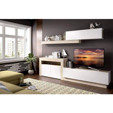 Mueble moderno Roma, medidas: Alto:180cm - Ancho:261cm - Fondo:40cm (Blanco Brillo y Natural)