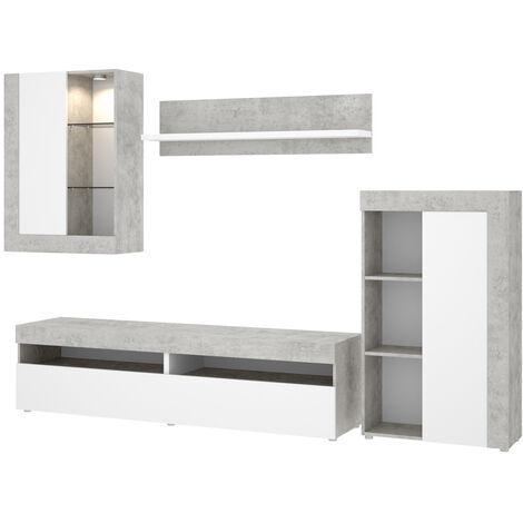 Mueble Modular salón Moderno,Blanco y Gris Cemento, Medidas: 265 cm (ancho) x 180 cm (alto) x 42 cm (fondo)
