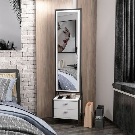 Mueble Multiusos Elegante con Espejo, Compartimientos, Cajones - para Entrada, Dormitorio - Blanco, Negro en Madera, 41 x 35 x 170 cm